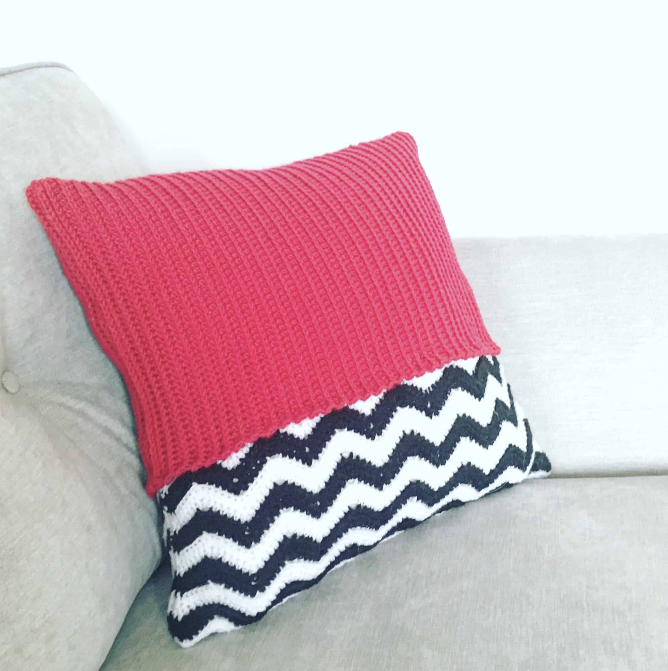 red crochet geometric zig zag cushion