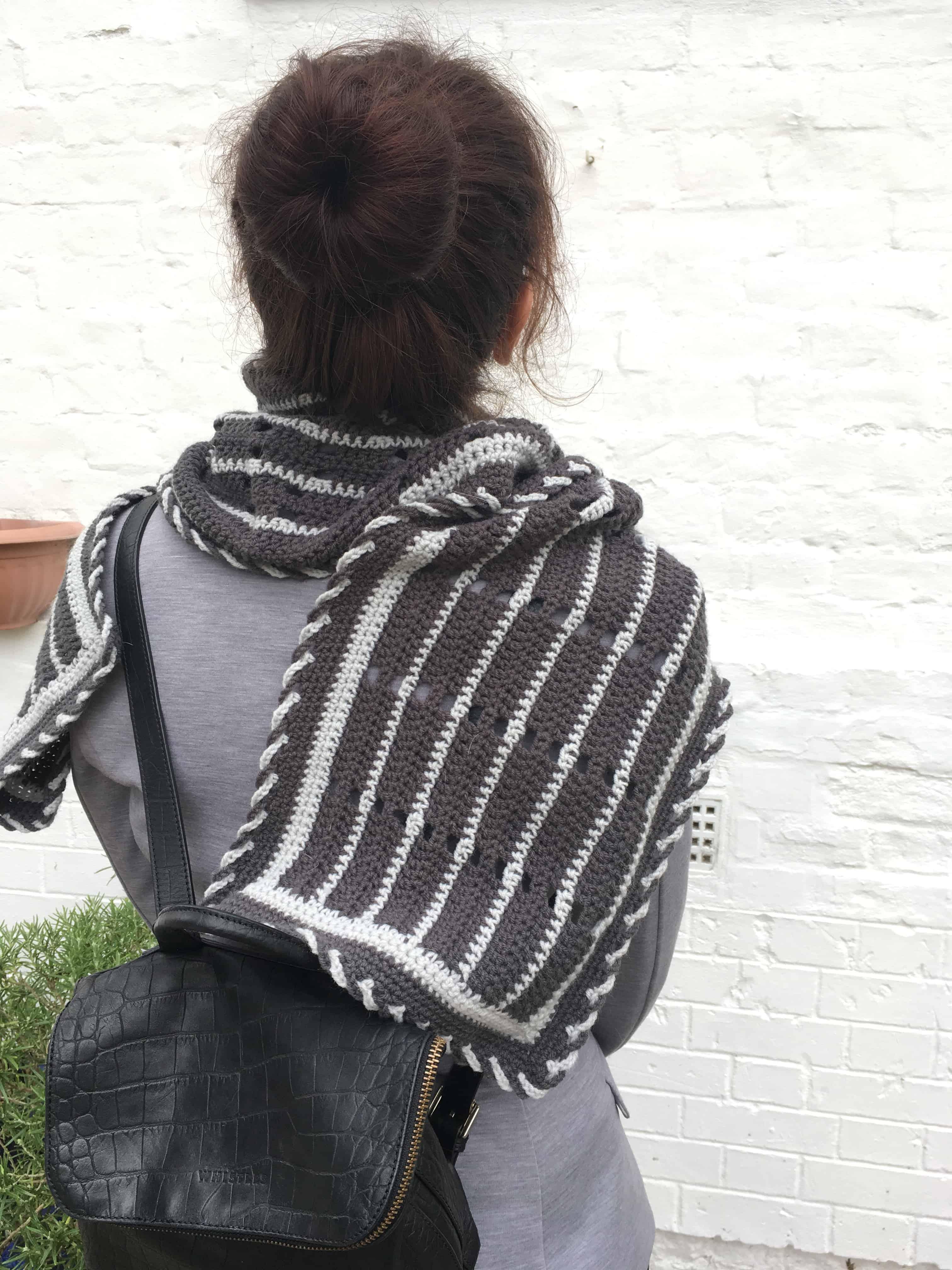 crochet qwerty wrap scarf keyboard pattern