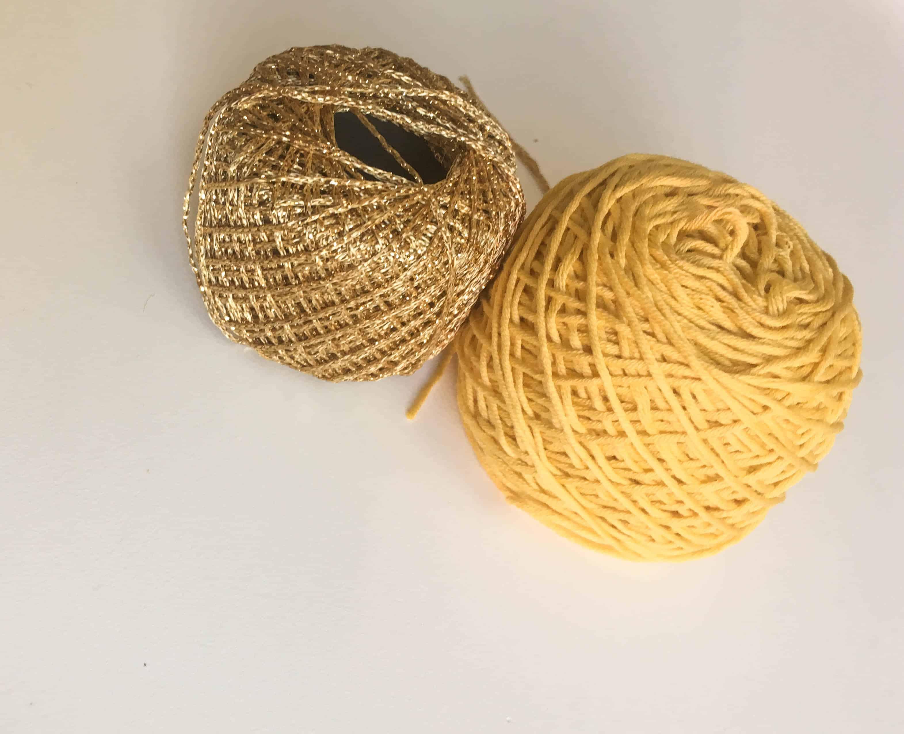 gold and yellow crochet yarn