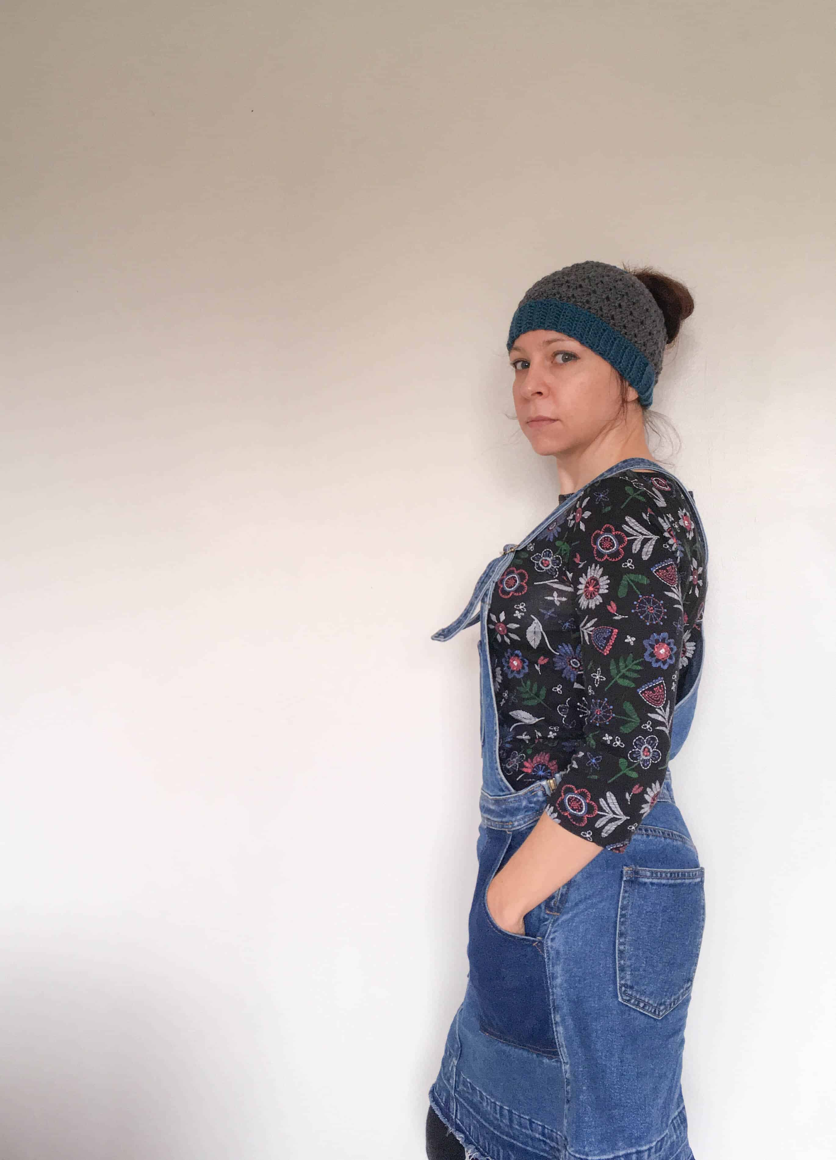 crochet messy Bun Hat free textured pattern