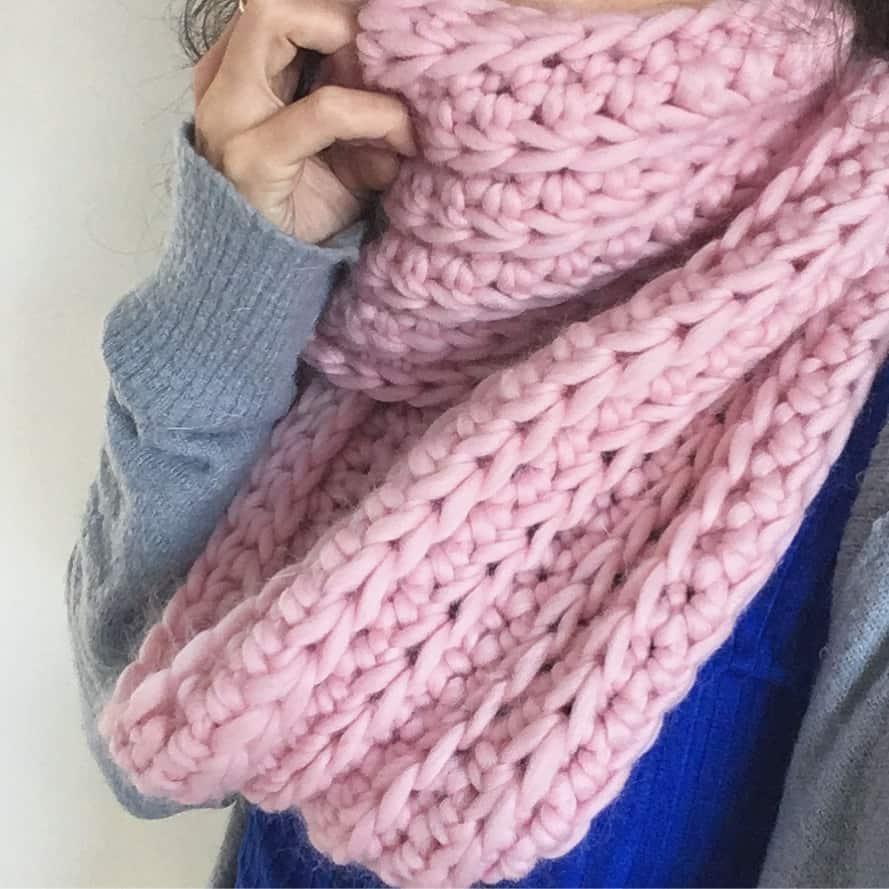 off the rails crochet chunky ribbed merino infinity scarf