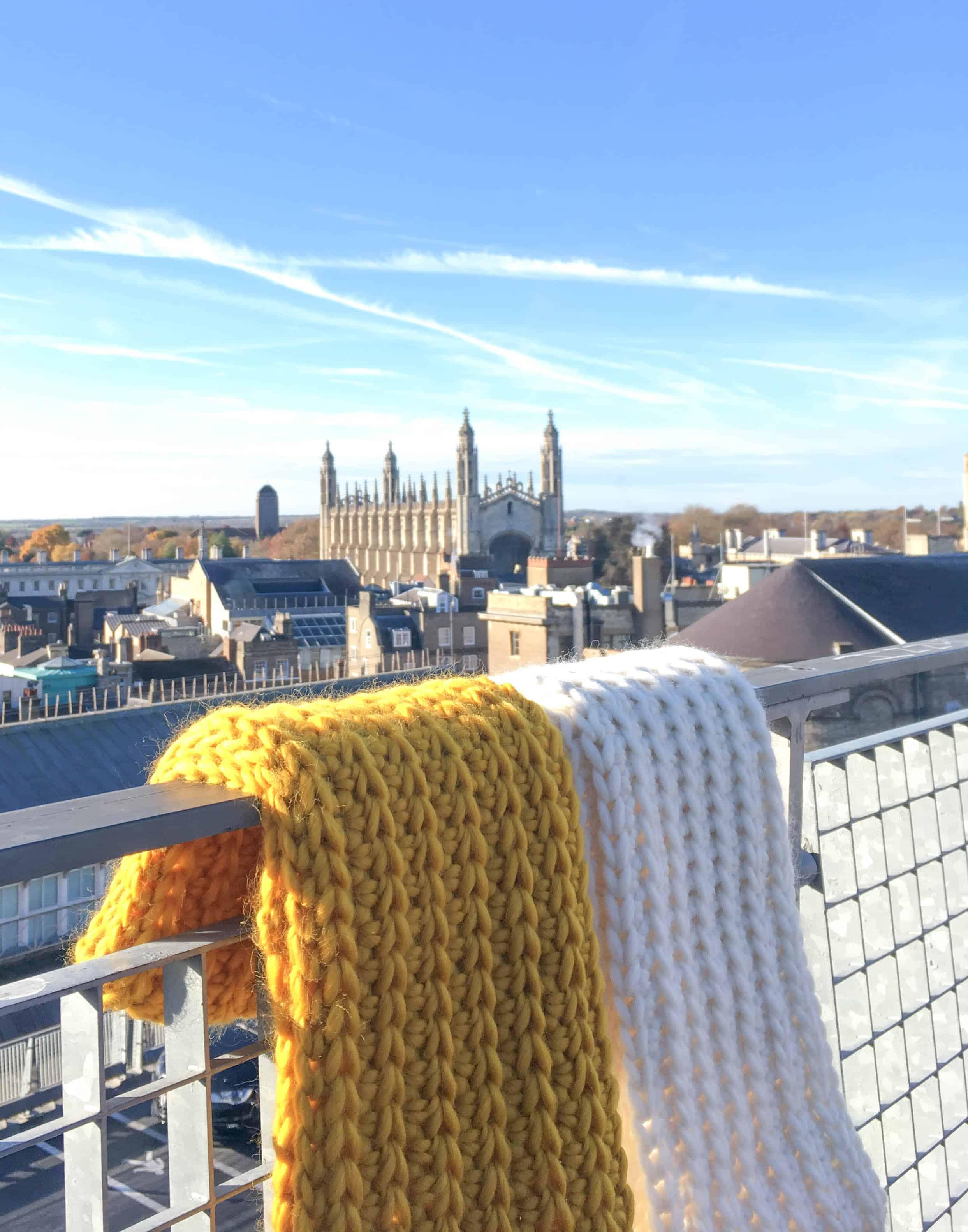 merino crochet infinity scarf Cambridge mustard cream yarn