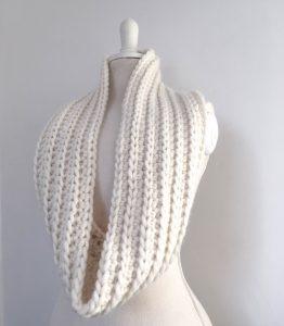 cream crochet infinity scarf ribbed chunky merino yarn hanging long