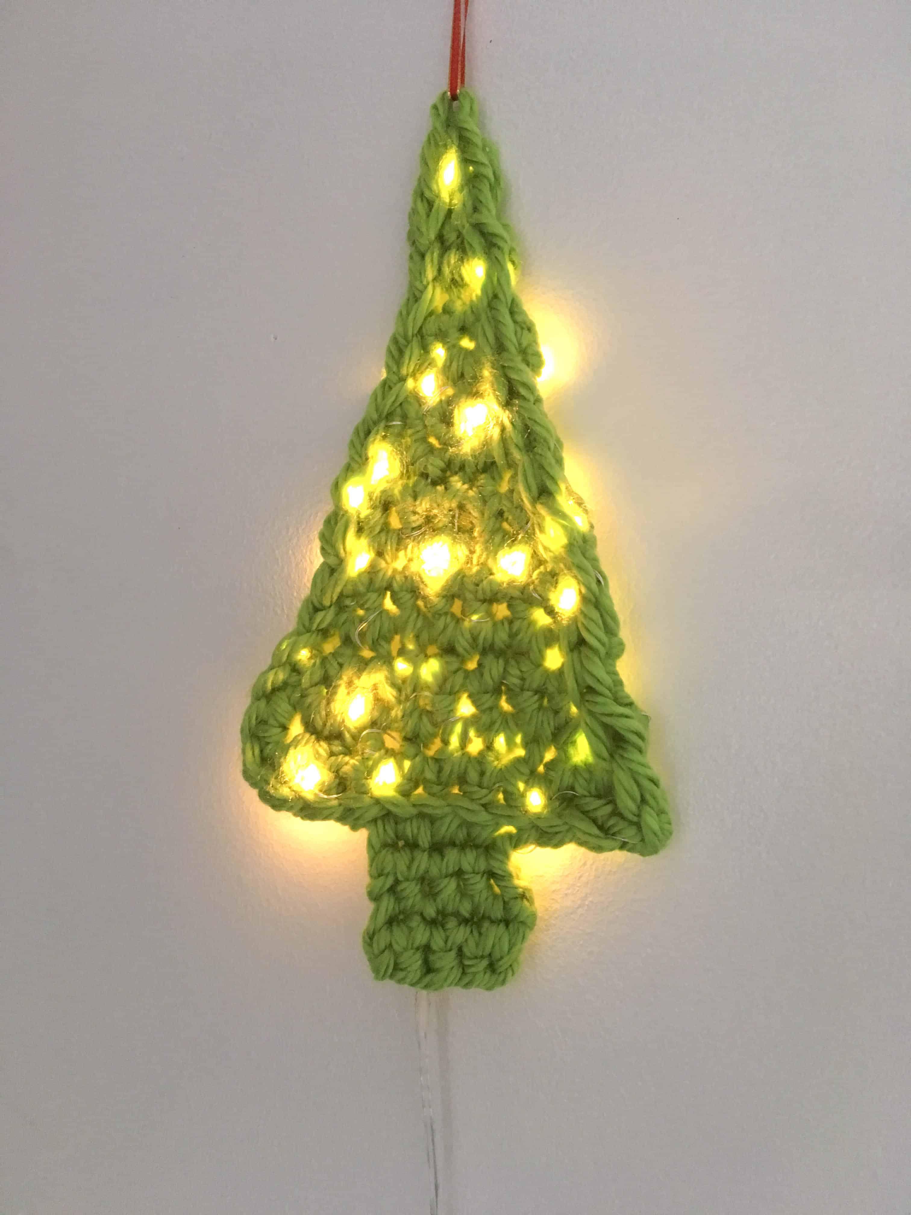 crochet light up fairy lights christmas tree decoration