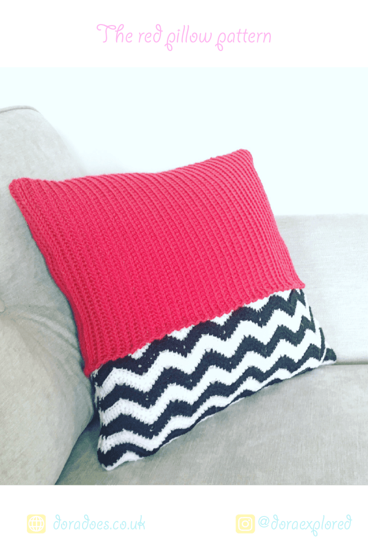 red geometric crochet pillow pattern