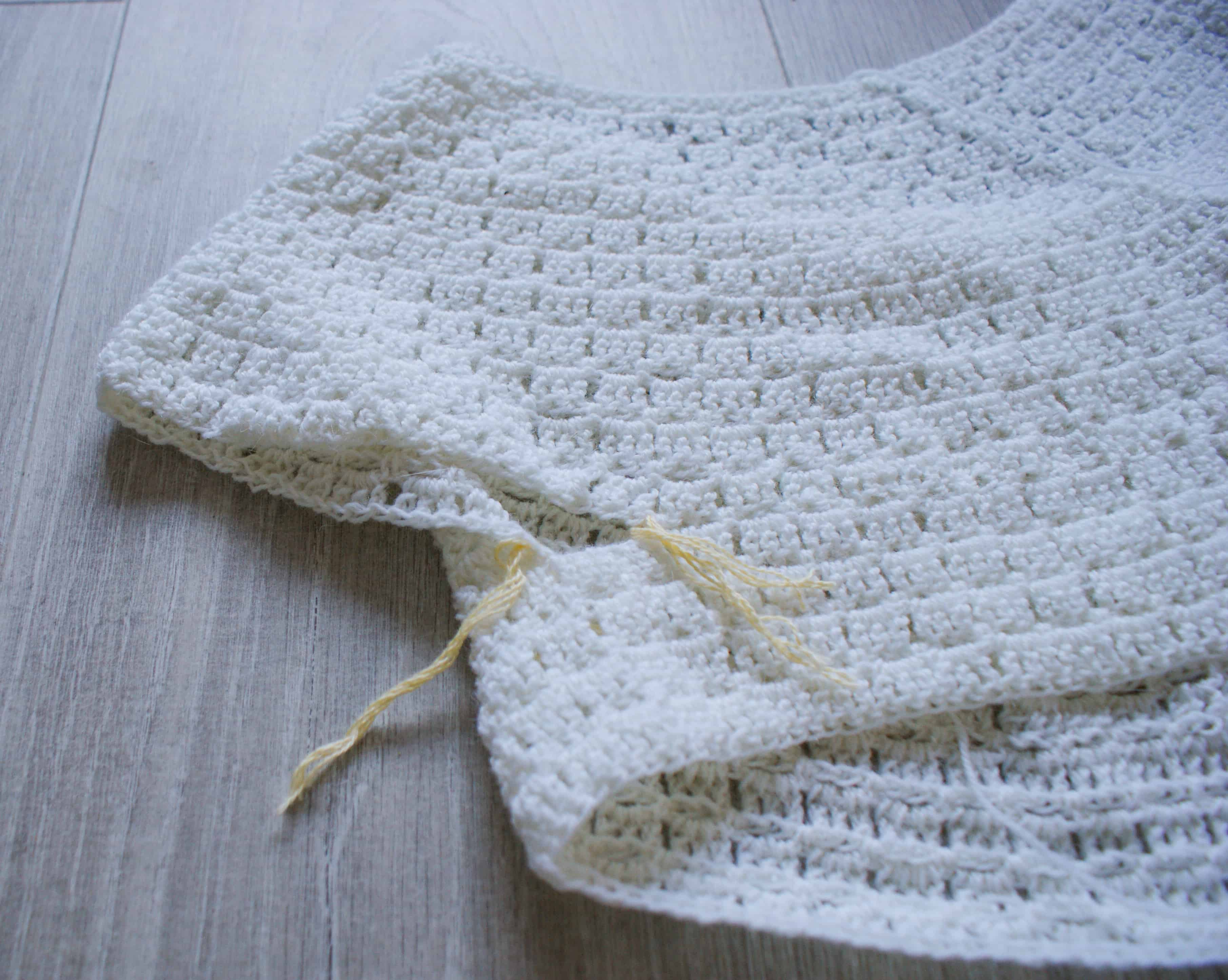 in progress shot of the making of a top down cardigan