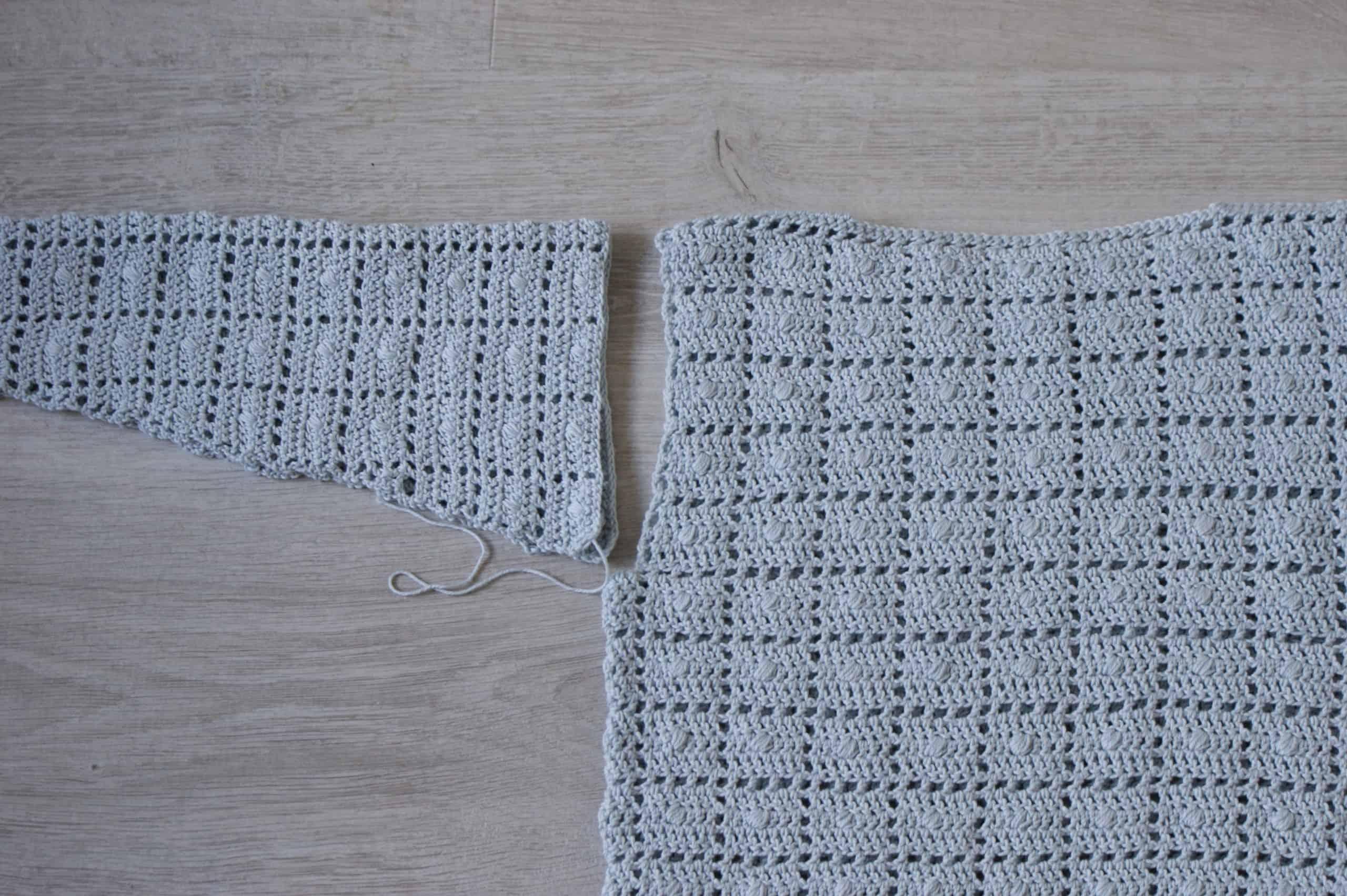 Crochet Modified drop sleeve construction